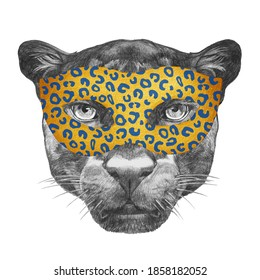 Portrait of Panther with a carnival mask. Hand-drawn illustration.