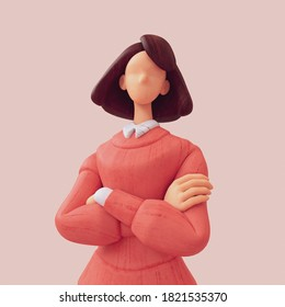 Portrait of pensive brunette girl with arms crossed. Business woman. Casual young stylized girl in red sweater with white blue striped shirt. Minimal art style. 3d illustration on beige background.