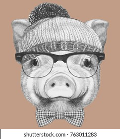 Portrait of Pig with sunglasses, hat and bow tie, hand-drawn illustration
