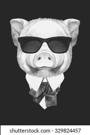 Portrait of Piggy in suit. Hand drawn illustration.