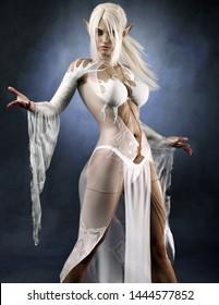 Porträt einer mächtigen Fantasie dunklen Elf weibliche Zauberin mit weißem, langes Haar und seidigen Blick durch das Kleid. 3D-Darstellung . Fantasy-Illustration