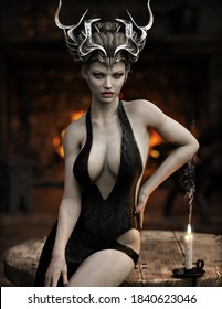 Portrait of a powerful fantasy female Halloween witch with black hair metal headdress crown and silky viper snake pattern dress posing with a roaring fireplace. 3d rendering . Fantasy illustration