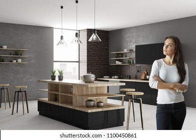 Portrait of pretty thoughtful young woman standing in modern kitchen interior. Lifestyle and home concept. 3D Rendering