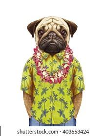Portrait of Pug in summer shirt with Hawaiian Lei. Hand-drawn illustration, digitally colored.