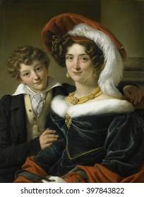Portrait of Rudolphina Wilhelmina Elizabeth de Sturler, by Cornelis Kruseman, 1829, Dutch painting, oil on canvas. The second wife of Count Johannes van den Bosch poses with their son Richard the Lion