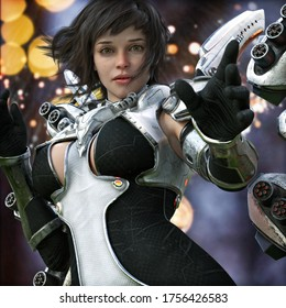 Portrait of a sci-fi female ranger with short brown hair in action, wearing futuristic battle armor.Science fiction 3d rendering
