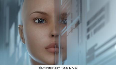 portrait d'une femme science-fiction, illustration 3d