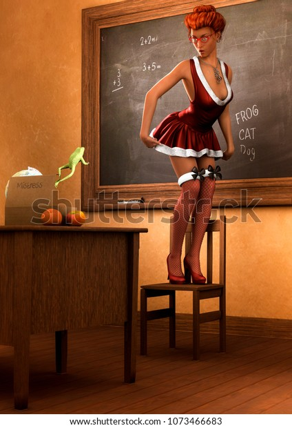 Portrait Sexy Pinup Teacher Scary By Stock Illustration 1073466683