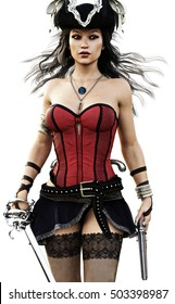 Portrait of a sexy Pirate female walking toward the camera wearing a corset,stalkings and skirt with pistol and sword. 3d rendering.