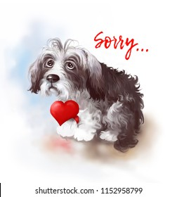 Portrait of a shaggy dog with a red heart on the paw. Digital illustration.