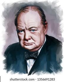 Portrait of Sir Winston Leonard Spencer-Churchill