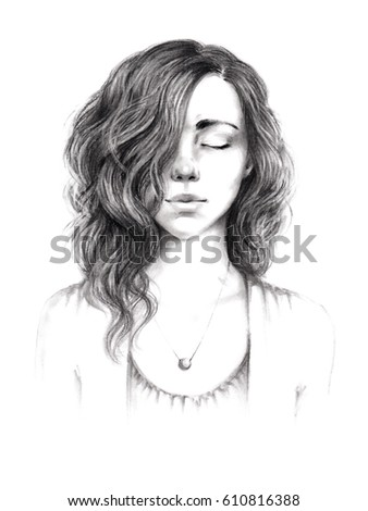 Portrait Sketch Beautiful Young Girl Curly Stock Illustration