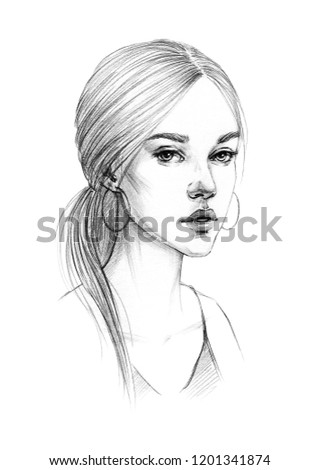 Royalty Free Stock Illustration Of Portrait Sketch Young Beautiful