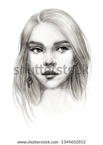 1f0abe378afa portrait sketch of a young beautiful girl with straight hair and one long  earring stylish eye