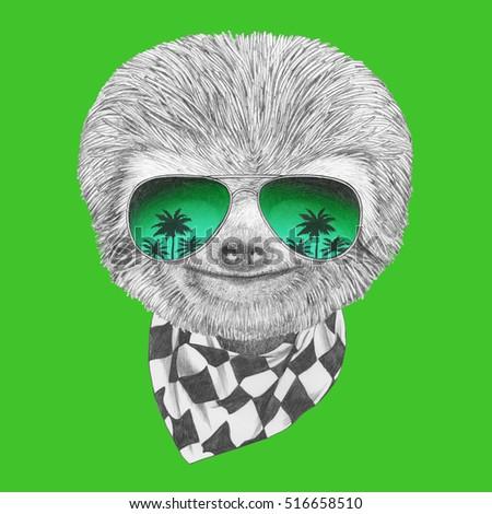 portrait sloth mirror sunglasses scarf hand stock illustration