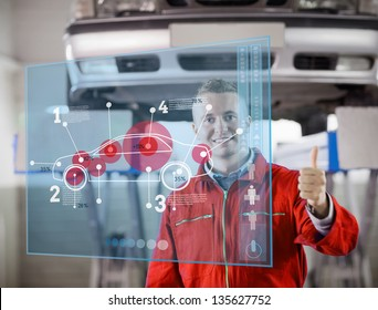 Portrait of smiling mechanic showing thumbs up with futurist interface with car diagram