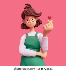 Portrait of smiling positive casual brunette girl in glasses wearing green apron, white t-shirt makes korean love sign, finger heart gesture. I Love You. Minimal art style. 3d render on pink backdrop.