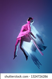 Portrait of a space women in a futuristic space suit floating away. 3D people conceptual illustration.
