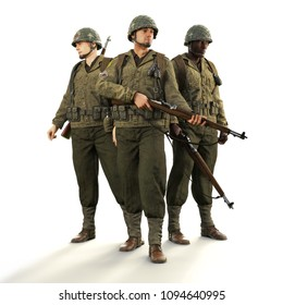 Portrait of a squad of uniformed world war 2 American combat soldiers on an isolated white background. 3d rendering