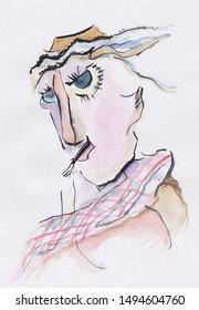 portrait of strange man, fantasy picture
