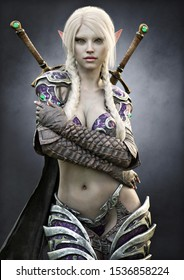 Portrait of a stunning exotic fantasy dark elf female warrior with white long braided hair, armored and equipped with duel sword weapons. 3d rendering . Fantasy illustration