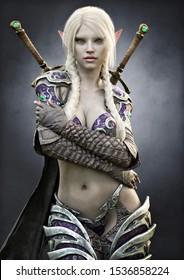 Porträt einer atemberaubenden exotischen Fantasie dunklen Elf-Kriegerin mit weißem, langgeflohenem Haar, gepanzert und mit dualen Schwertwaffen ausgestattet. 3D-Darstellung . Fantasy-Illustration