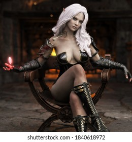 Portrait of a stunning exotic fantasy dark elf female sorcerer with long white hair practicing her magic while sitting comfortably in front of a fireplace  . Fantasy illustration 3d rendering