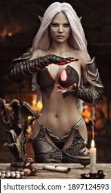Porträt einer atemberaubenden exotischen Fantasie dunkler Elf-Zaubererin mit langen weißen Haaren, die vor Ihnen in ihren privaten Kammern ihre Magie praktiziert. Fantasy Illustration 3D Rendering