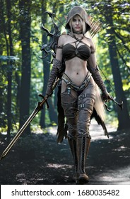 Portrait of a stunning exotic hooded fantasy elf female warrior with white long hair walking toward the camera, equipped with a sword and bow and arrow for weapons. 3d rendering . Fantasy illustration