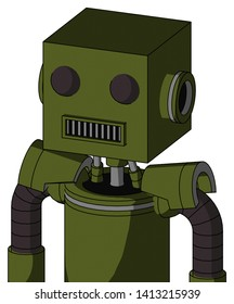 Portrait style Army-Green Automaton With Box Head And Square Mouth And Two Eyes .