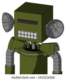 Portrait style Army-Green Automaton With Box Head And Keyboard Mouth And Black Visor Cyclops .