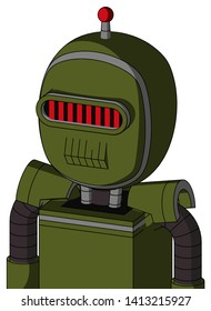 Portrait style Army-Green Automaton With Bubble Head And Toothy Mouth And Visor Eye And Single Led Antenna .