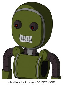 Portrait style Army-Green Automaton With Bubble Head And Teeth Mouth And Red Eyed .