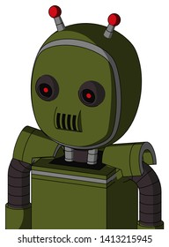 Portrait style Army-Green Automaton With Bubble Head And Speakers Mouth And Black Glowing Red Eyes And Double Led Antenna .