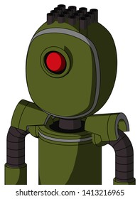 Portrait style Army-Green Automaton With Bubble Head And Cyclops Eye And Pipe Hair .
