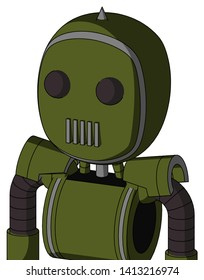 Portrait style Army-Green Automaton With Bubble Head And Vent Mouth And Two Eyes And Spike Tip .