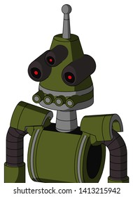 Portrait style Army-Green Automaton With Cone Head And Pipes Mouth And Three-Eyed And Single Antenna .