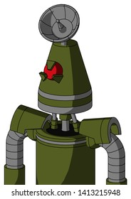 Portrait style Army-Green Automaton With Cone Head And Angry Cyclops Eye And Radar Dish Hat .