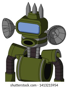 Portrait style Army-Green Automaton With Cone Head And Round Mouth And Large Blue Visor Eye And Three Spiked .