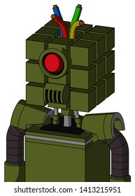 Portrait style Army-Green Automaton With Cube Head And Speakers Mouth And Cyclops Eye And Wire Hair .