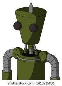 Portrait style Army-Green Automaton With Cylinder-Conic Head And Two Eyes And Spike Tip .