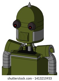 Portrait style Army-Green Automaton With Dome Head And Speakers Mouth And Red Eyed And Spike Tip .
