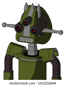 Portrait style Army-Green Automaton With Droid Head And Square Mouth And Three-Eyed And Three Spiked .