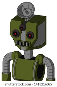 Portrait style Army-Green Automaton With Mechanical Head And Square Mouth And Three-Eyed And Radar Dish Hat .