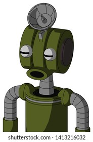 Portrait style Army-Green Automaton With Multi-Toroid Head And Round Mouth And Two Eyes And Radar Dish Hat .