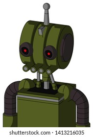 Portrait style Army-Green Automaton With Multi-Toroid Head And Pipes Mouth And Black Glowing Red Eyes And Single Antenna .