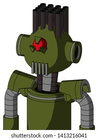 Portrait style Army-Green Automaton With Rounded Head And Vent Mouth And Angry Cyclops Eye And Pipe Hair .