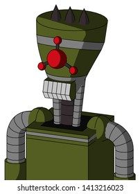 Portrait style Army-Green Automaton With Vase Head And Teeth Mouth And Cyclops Compound Eyes And Three Dark Spikes .