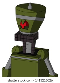 Portrait style Army-Green Automaton With Vase Head And Keyboard Mouth And Angry Cyclops Eye And Spike Tip .