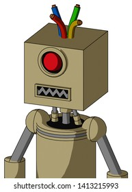 Portrait style Army-Tan Automaton With Box Head And Square Mouth And Cyclops Eye And Wire Hair .